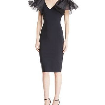 Chiara Boni La Petite Robe Firoenza Organza-Sleeve Sheath Dress