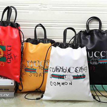 """Gucci"" Unisex Casual Fashion Personality Graffiti Letter Pattern Print Drawstring Backpack Double Shoulder Bag Couple Handbag"