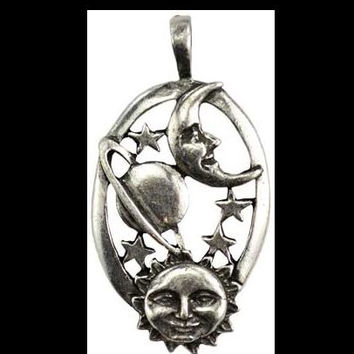 Harmonious Universe Celestial Amulet Sun Moon Planets and Stars Oval Shape Pendant Pewter