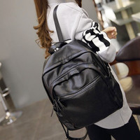Large Black PU Leather Backpack Travel Bag