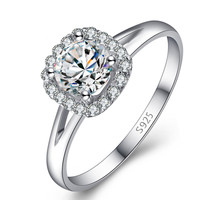 925 Sterling Silver Engagement Wedding CZ Ring with Cluster Setting Stones