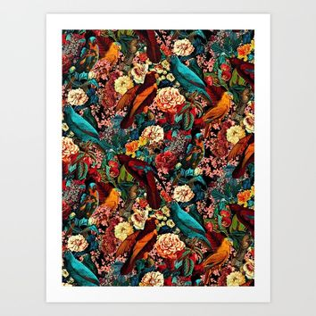 FLORAL AND BIRDS XVII Art Print by burcukorkmazyurek