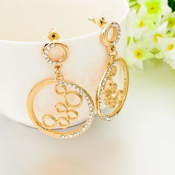 Gold Round Big Rhinestone Earrings
