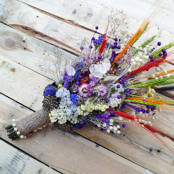 Wedding dried flowers, wild flowers bouquet, lavender bouquet, wedding bouquet, strawflower, limonium, baby's breath, wedding arrangement