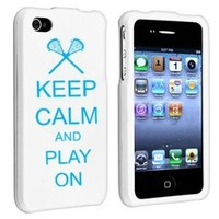 Amazon.com: Apple iPhone 4 4S White Rubber Hard Case Snap on 2 piece Light Blue Keep Calm and Play On Lacrosse: Cell Phones & Accessories