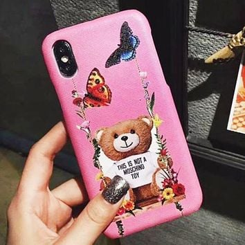 Moschino Fashion New Bear Floral Butterfly Women Men Protective Cover Phone Case Pink