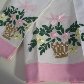 Tea Guest Towels Silk Ribbon Embroidery Basket of Flowers Housewarming Hostess Gift