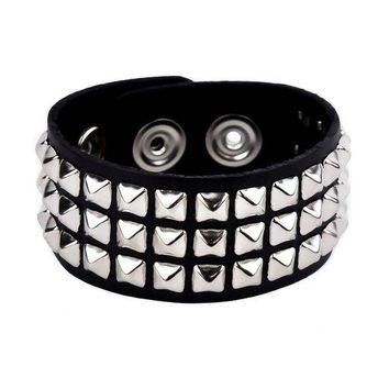 3-Row Mini Silver Pyramid Stud Black Leather Bracelet Wristband