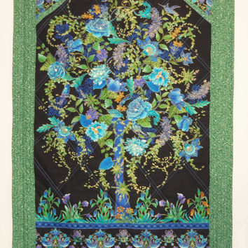 Fiber Art , ORIENTAL TREE of LIFE Quilted Wall Hanging , Wall Decor , Japanese , Blue , Room Decor , Tree , Crystals