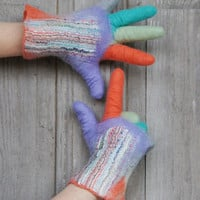 Hand felted wool gloves, lavender with colored fingers, decorated with cotton fabric. OOAK