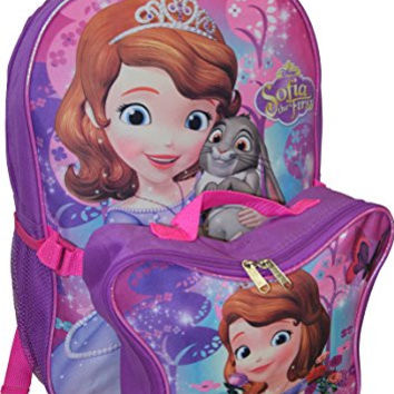 "Disney Princess Sofia 16"" Backpack W/ Detachable Lunch Box"