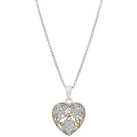 Floral Inspired Gold and Silver Tone CZ Heart Necklace