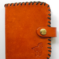 Handcrafted Leather Mens Billfold Wallet Horse Bi-fold Hand Laced