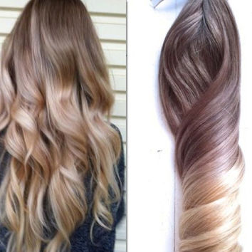 """Ash Blonde and Gold Ombre Hair,  Balayage Clip In Hair Extensions, Dark Ash Blonde Hair, Light Ash Blonde Ombre, (7) Pieces, 18"""""""