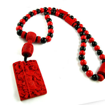 Guan Yu Buddhist God, Men's Beaded Necklace, Carved Red Cinnabar, Toaist Dragon Chinese Warrior, Zen Kanji Pendant, Japanese Yakuza Necklace
