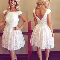 Homecoming Dress, Scoop Pearl Open Back White Lace Short Prom Dresses