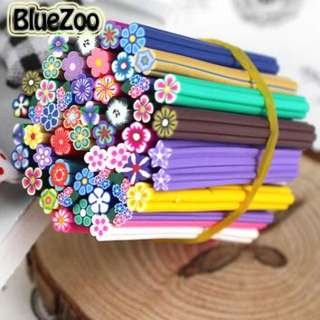 DCCKHG7 BlueZoo New 50pcs Nail 3D Fimo Nail Stickers Flowers Fimo Canes Polymer Clay Nail Decal DIY Nail Art Decoration
