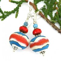 Southwest Lampwork Earrings, Red Turquoise Ivory Handmade Jewelry Gift