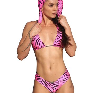 Hot Pink Zebra Hoodie Booty Short Set Rave Clothing