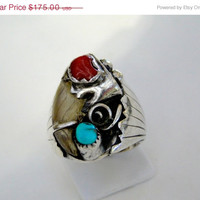 On SALE Signed Lorenzo Livingston Bear Claw Ring Navajo Size 12,Sterling 23.9 grams