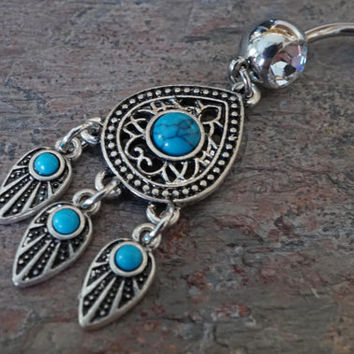 Navajo Belly Button Rings Turquoise Dream Catcher Feather Belly Ring