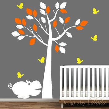 Jungle Tree Vinyl Wall Decal with Hippo and Butterflies for Baby Room