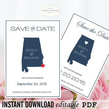 Alabama State Map Save the Date Editable PDF Templates - Alabama Navy State Map Save the Date Printable - Instant Download - DIY You Print