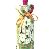 Winter Holiday Christmas Music Plaid Polka Dots Holly Patchwork Fabric Reusable Drawstring Gift Bag Present Gift Wrap Wine Hostess Sleeve