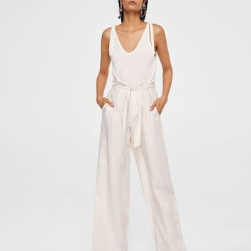 Linen high-waist trousers - Women | MANGO USA