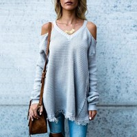 Long Sleeve Pullover Sexy Strapless V-neck Sweater [186297909274]