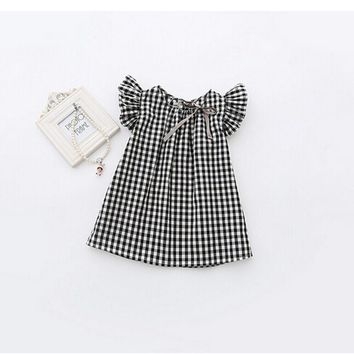 Black White Plaid Girl Dresses Puff Sleeve