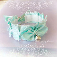 Kitten Pet Play Cat Collar Choker Necklace Mint Green White Lace Bell Bow Kitty Cute Soft pastel goth Lolita Neko BDSM DDLG