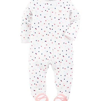 Carter's White Polka Dot Footie - Infant