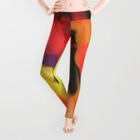 Meadow Flowers At Night Abstract Leggings by Jen Warmuth Art And Design