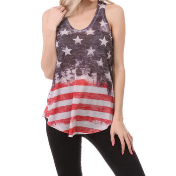 Outlaw Western Womens American Stars And Stripes Flag Tank Top