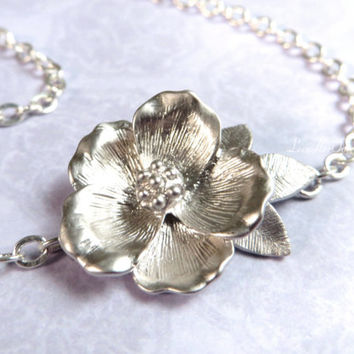 Silver Flower Necklace Floral Silver Necklace Flower Pendant Bridal Necklace Poppy