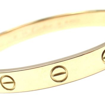 One-nice? Authentic! CARTIER 18k Yellow Gold Love Bangle Bracelet Size 16 Paper Box Dr