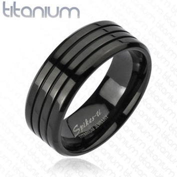 8mm Multi Groove Black IP Band Ring Solid Titanium Men's Fashion Ring