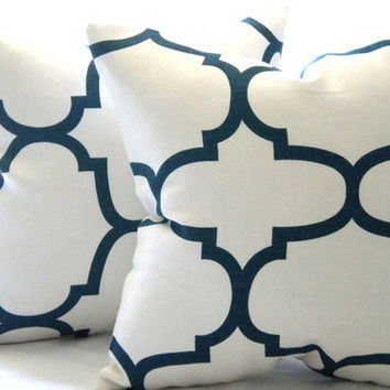 Designer Decorative White and Indigo blue throw pillow 18 x 18