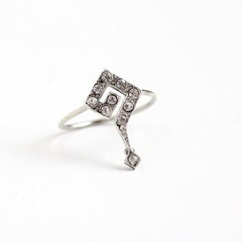Antique Edwardian Sterling Silver Question Mark Stick Pin Conversion Ring - Vintage 1910s Size 9 Unique Statement White Rhinestone Jewelry