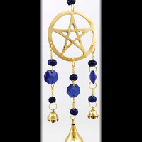 Gold-Tone Brass Pentagram Wind Chime