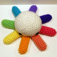 Rainbow Legged Octopus - Ready to Ship - Amigurumi Crochet Plushie