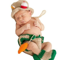 Newborn Infant Baby Fisherman Hat Dipaer Boots Fish set Handmade Knit Crochet Baby photography props Outfit Costume (Size: 0-6m)