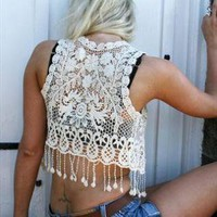 Lace With Floral Crochet Tank Top