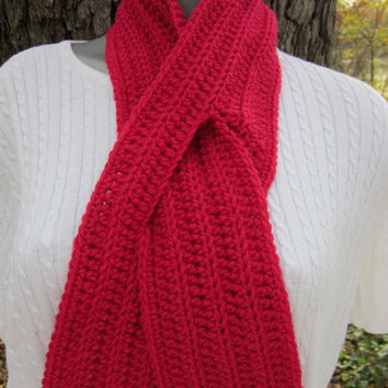 CIJ SALE 50% OFF Crochet Ribbed Neckwarmer with Slit, Rose Keyhole Scarf, Pretty Rose Neck Warmer, Winter Wear by Crocheted by Charlene