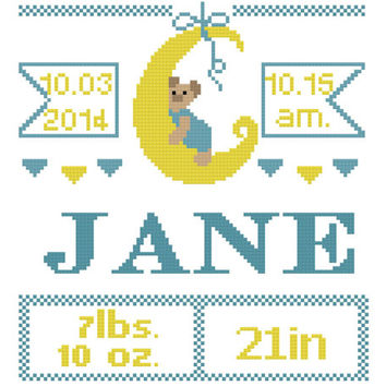 Announcement for a baby / Cross stitch pattern baby born - Baby Names  girl boy