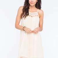 Flying Tomato Crochet Lattice Dress Cream  In Sizes
