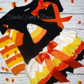 Girls Candy Corn Halloween Outfit, Baby Girls Fall / Halloween Bloomer Outfit, Candy Corn Cutie Outfit