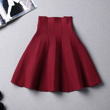 LMFUX5 Fashion solid color knit high waist skirt