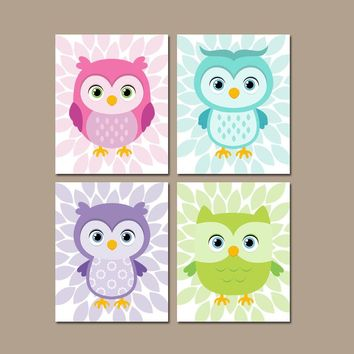 Girl OWL Nursery Wall Art, Whimsical Owls Art, CANVAS or Prints, Baby Girl Owl Decor, Bedroom Wall Decor, Set of 4, Owl Birthday Decor